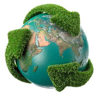 Setas verdes envolvendo o globo terrestre
